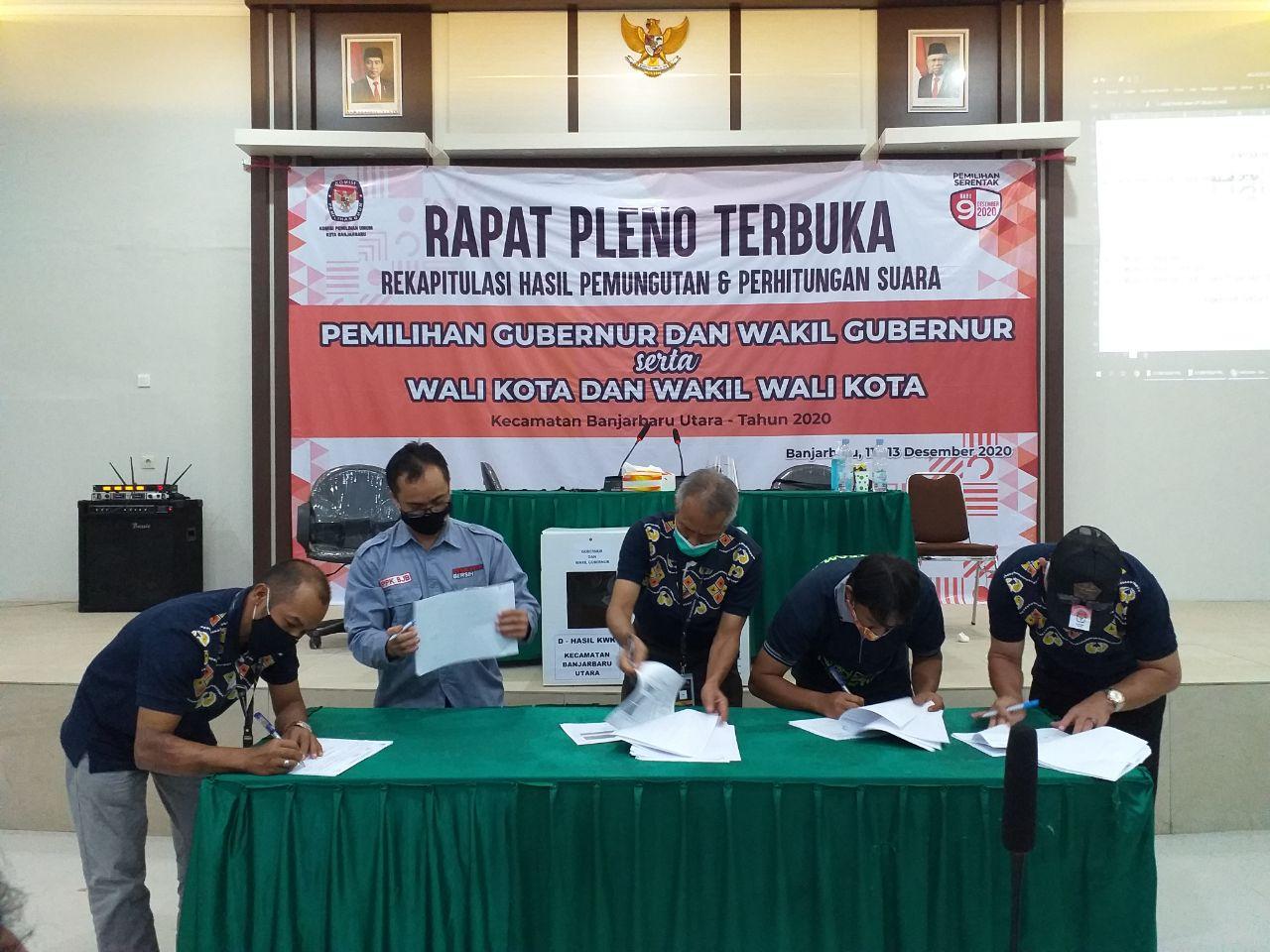 Rapat Pleno Terbuka Rekapitulasi Hasil Penghitungan Suara Kecamatan Banjarbaru Utara Tahun 2020